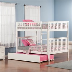 Atlantic Furniture Woodland Bunk Bed with Trundle Bed in White