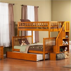 Atlantic Furniture Woodland Staircase Bunk Bed with Trundle Bed in Caramel