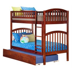 Atlantic Furniture Richland Bunk Twin over Twin with Trundle in Antique Walnut