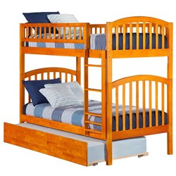 Atlantic Furniture Richland Bunk Twin over Twin with Trundle in Caramel Latte