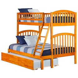 Atlantic Furniture Richland Bunk Twin over Full with Trundle in Caramel Latte