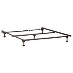 Atlantic Furniture Adjustable Premium Metal Bed Frame with Rug Rollers