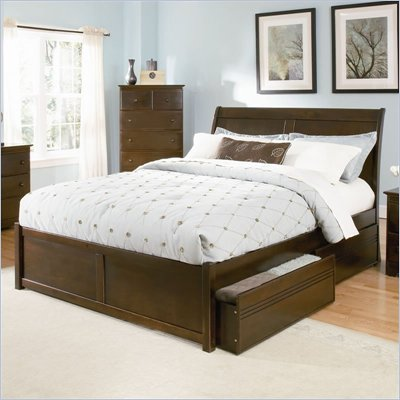Atlantic Furniture Bordeaux Wood Platform Bed with Flat Panel Footboard 5 Piece Bedroom Set