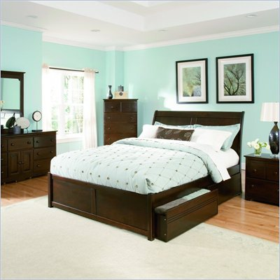 Atlantic Furniture Bordeaux Wood Platform Bed with Flat Panel Footboard 3 Piece Bedroom Set