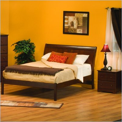 Atlantic Furniture Bordeaux Wood Platform Bed with Open Footrail 4 Piece Bedroom Set