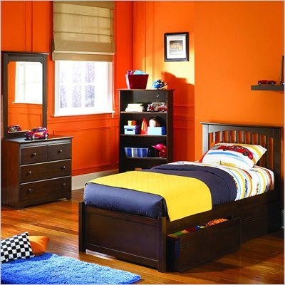 Atlantic Furniture Brooklyn 4 Piece Platform Bedroom Set with Free 7&quot; Mattress