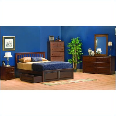 Atlantic Furniture Brooklyn Wood Platform Bed with Flat Panel Footboard 4 Piece Bedroom Set