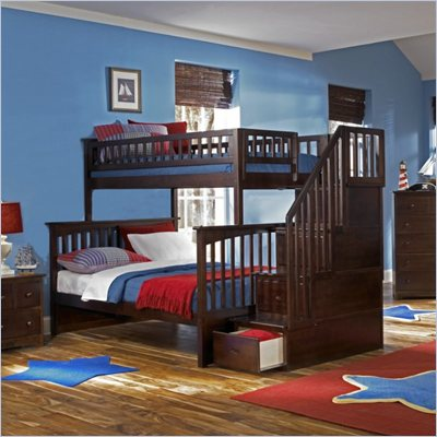Atlantic Furniture Columbia Staircase Bunk Bed Twin Over Full in Antique Walnut