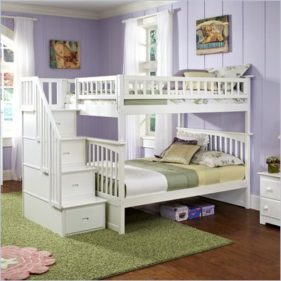 Atlantic Furniture Columbia Staircase Bunk Bed Full Over Full in White