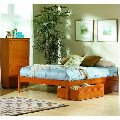 Atlantic Furniture Concord Platform Bed with Open Footrail and Storage Drawer Set