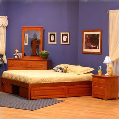 Atlantic Furniture Concord Platform Bed with Open Footrail 2 Piece Bedroom Set