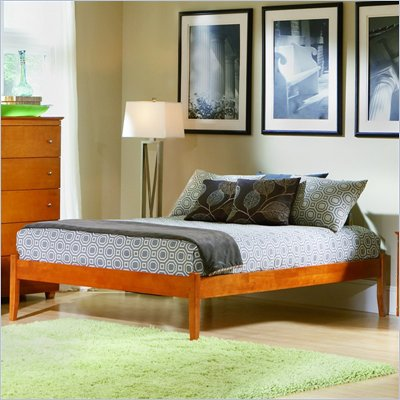 Atlantic Furniture Concord Wood Platform Bed with Open Footrail 4 Piece Bedroom Set
