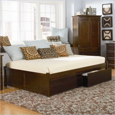 Atlantic Furniture Concord Platform Bed with Flat Panel Footboard 2 Piece Bedroom Set in Antique Walnut