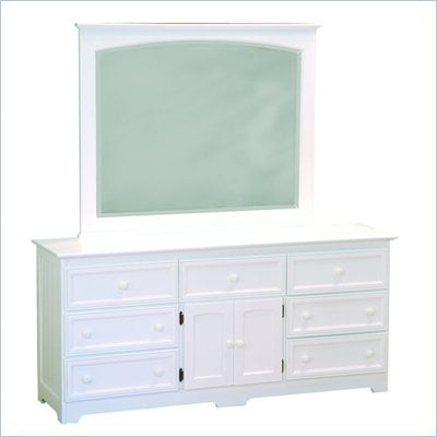 Atlantic Furniture Manhattan Dresser and Mirror Set in White
