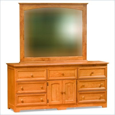 Atlantic Furniture Manhattan Dresser and Mirror Set in Caramel