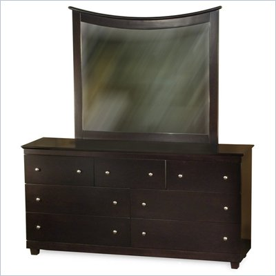 Atlantic Furniture Miami 7-Drawer Dresser and Mirror Set in Espresso