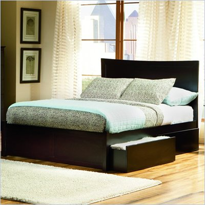Atlantic Furniture Miami Platform Bed with Flat Panel Footboard and Storage Drawer Set