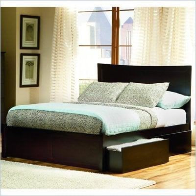 Atlantic Furniture Miami Wood Platform Bed with Flat Panel Footboard 3 Piece Bedroom Set