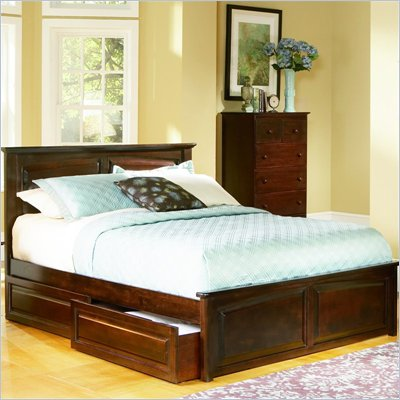 Atlantic Furniture Monterey Platform Bed with Raised Panel Footboard and Storage Drawer Set