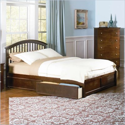 Atlantic Furniture Studio Richmond Platform Bed with Flat Panel Footboard in Antique Walnut