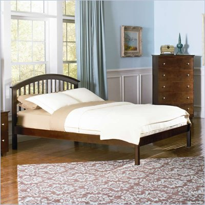 Atlantic Furniture Studio Richmond Platform Bed with Open Footrail in Antique Walnut