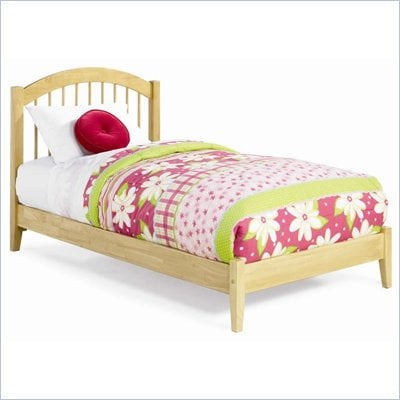 Atlantic Furniture Windsor Wood Platform Bed with Open Footrail 4 Piece Bedroom Set