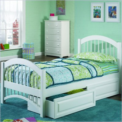 Atlantic Furniture Windsor Twin Platform Bed with Double Arch Footboard and Storage Drawer Set
