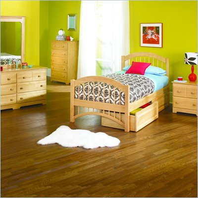 Atlantic Furniture Windsor Twin Wood Platform Bed with Double Arch Footboard 3 Piece Bedroom Set