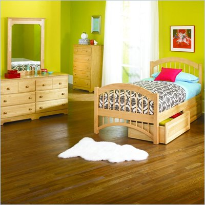 Atlantic Furniture Windsor Twin Wood Platform Bed with Double Arch Footboard 4 Piece Bedroom Set