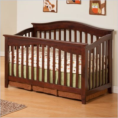 Atlantic Furniture Windsor Convertible Crib in an Antique Walnut Finish