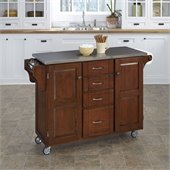 Home Styles Furniture Stainless Steel Kitchen Cart in Cherry