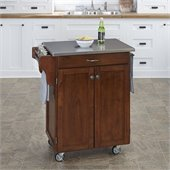 Home Styles Furniture Kitchen Cart in Cherry with Stainless Steel Top