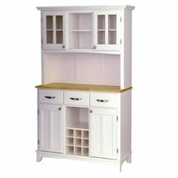 Home Styles Furniture Wood Top Buffet Server and  2-Door Hutch in White