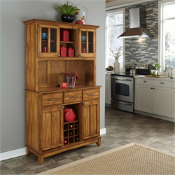 Home Styles Buffet of Buffets Server and Hutch in Cottage Oak