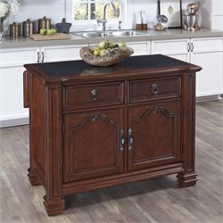 Home Styles Santiago Granite Top Kitchen Island in Distressed Cognac
