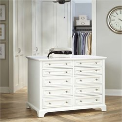 Home Styles Naples 10 Drawer 6 Shelf Closet Island in White