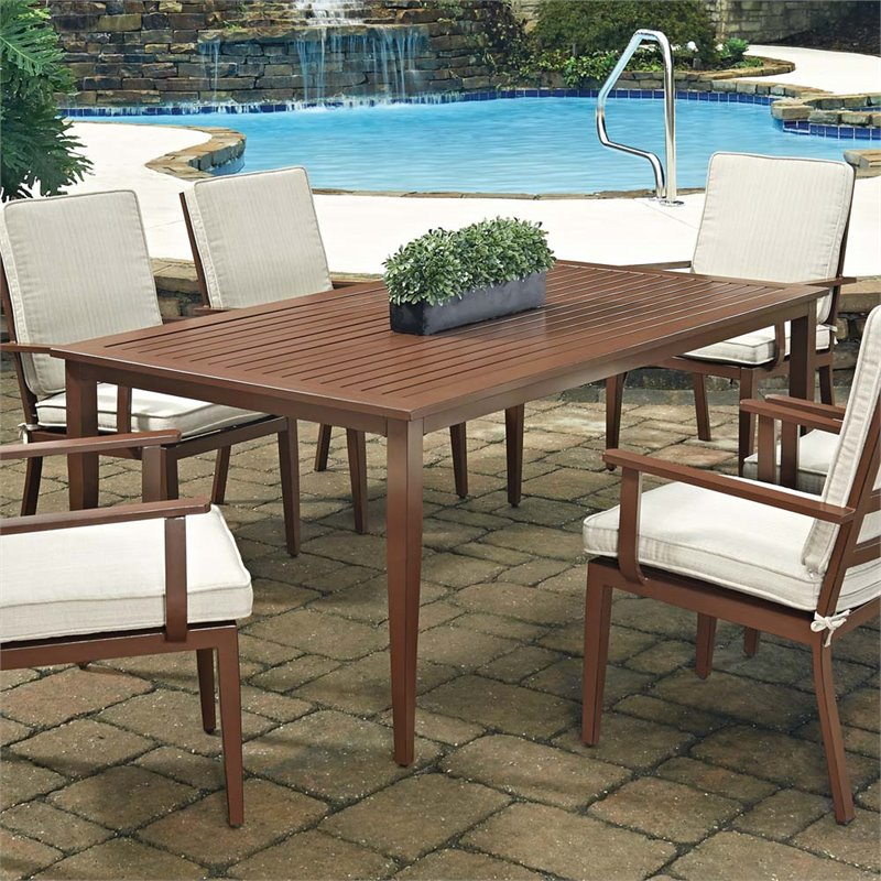 Home Styles Key West 71 x 40 Patio Dining Table in Chocolate
