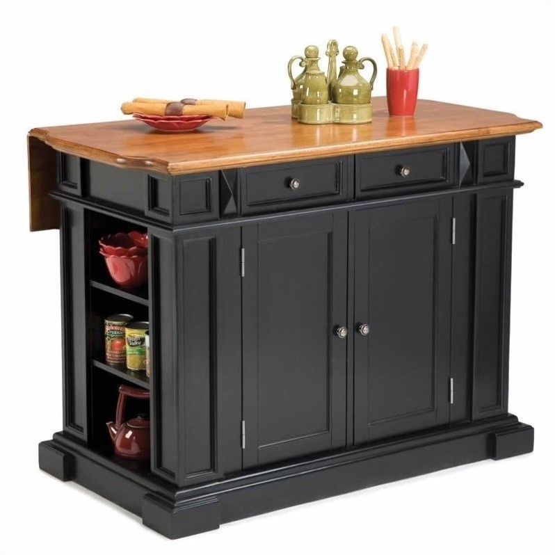 Home Styles Kitchen Island With Breakfast Bar In Black Ebay
