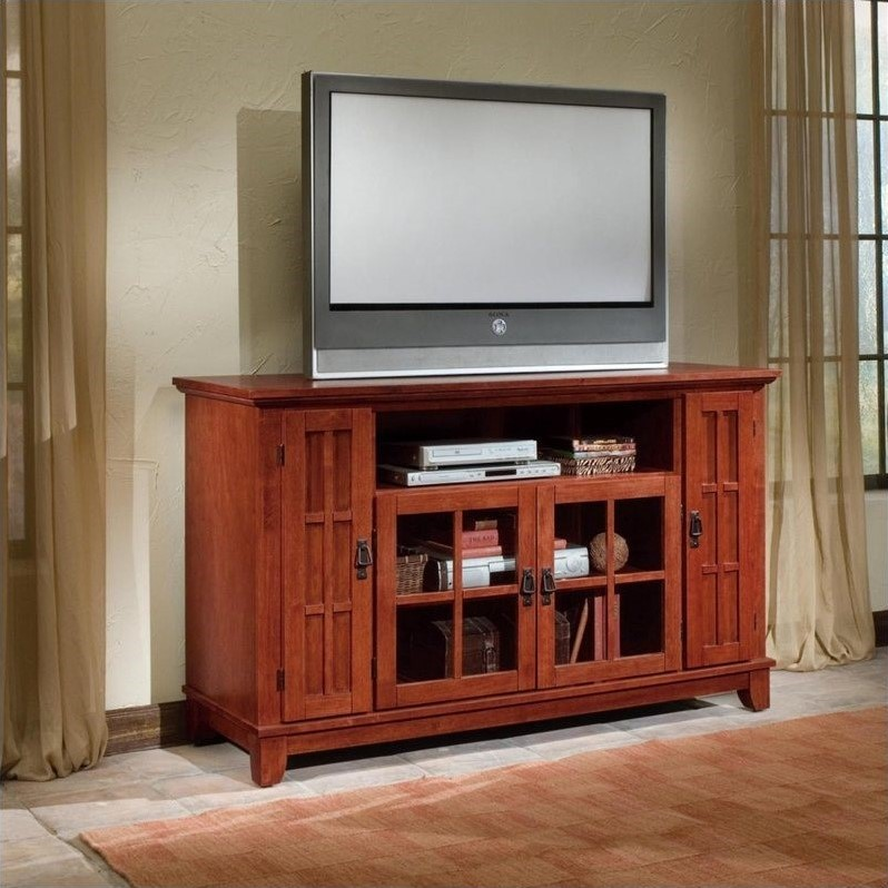 Arts & Crafts Entertainment Credenza in Cottage Oak
