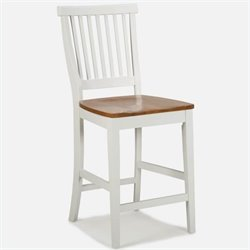 Home Styles Wood Counter Height Kitchen Stool in White and Oak Finish