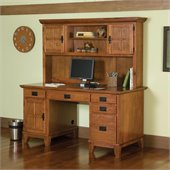 Home Styles Furniture Arts & Crafts Wood Pedestal Desk with Hutch in Cottage Oak