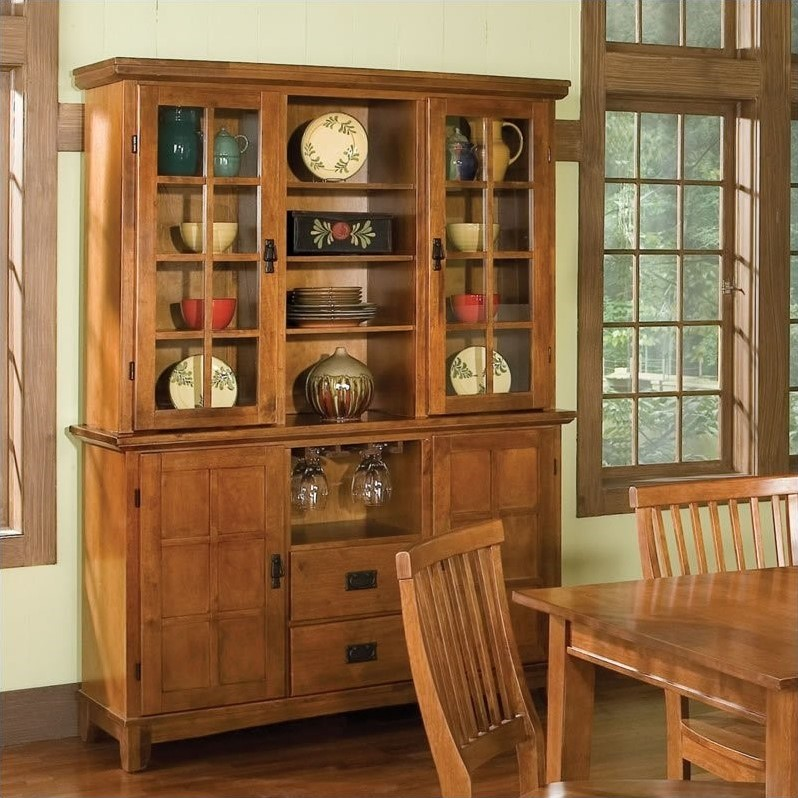 Furniture Arts & Crafts Dining Buffet and Hutch in Cottage Oak
