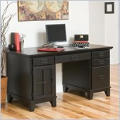 Home Styles Furniture Arts & Crafts Wood Pedestal Desk in Ebony
