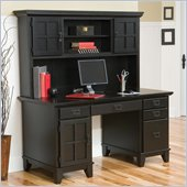 Home Styles Furniture Arts & Crafts Wood Pedestal Desk with Hutch in Ebony