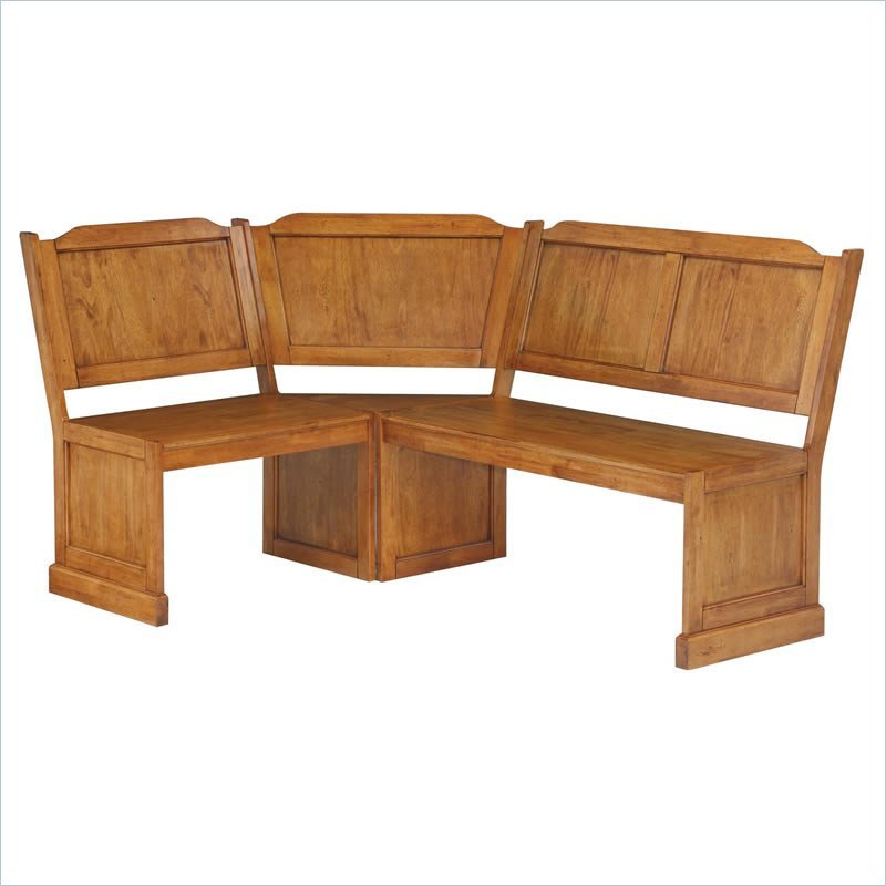 Home Styles Wood Kitchen Dining Nook Corner Bench Distressed Oak Ebay