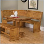Home Styles 2 Piece Rectangular Kitchen Dining Nook Table Set in Oak