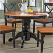 ADD TO YOUR SET: Home Styles Round Pedestal Casual Dining Table in Black and Cottage Oak Finish