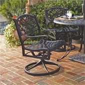 Home Styles Outdoor Swivel Dining Arm Chair in Black Finish