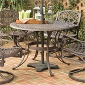 Home Styles Round Outdoor Dining Table in Rust Brown Finish