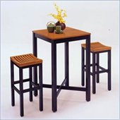 Home Styles Furniture Contour Black with Oak Veneer Pub Table and Bar Stool Set